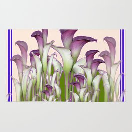 Art Nouveau Maroon Calla Lilies Purple Design Rug