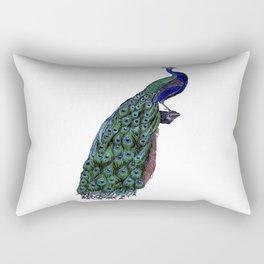 Vintage peacock bird print colorful feathers 1800s antique fine art elegant art nouveau deco nature Rectangular Pillow