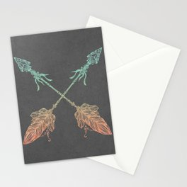 Tribal Arrows Turquoise Coral Gradient on Gray Stationery Cards