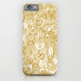 canadian animals gold white iPhone Case
