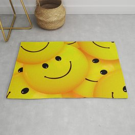 Fun Cool Happy Yellow Smiley Faces Rug