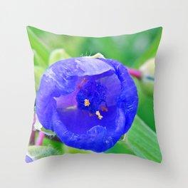 Inside the Blue Flower Throw Pillow