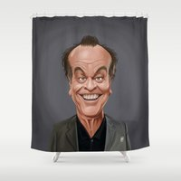 jack nicholson Shower Curtains featuring Celebrity Sunday ~ Jack Nicholson by rob art | illustration