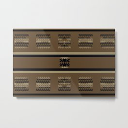 SEDONA southwest inspired pattern in black, tan, and mocha brown Metal Print