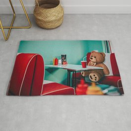 Teddy in the diner Rug