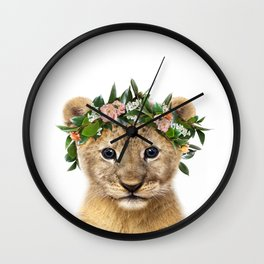Baby Lion With Flower Crown, Baby Animals Art Print By Synplus Wall Clock