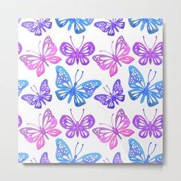 Watercolor butterflies seamless pattern Metal Print