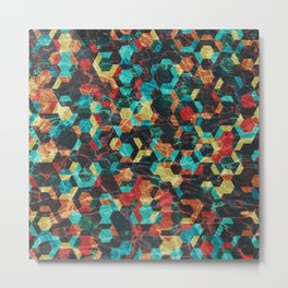 Colorful Half Hexagons Pattern #07 Metal Print