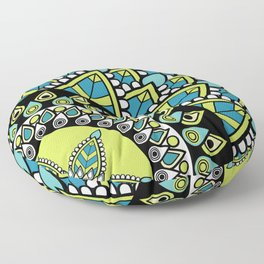 Petrichor Blue & Green Leaf Patterned Mandala Floor Pillow