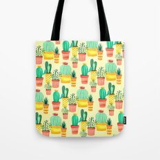 Hello! Colorful Watercolor Cactus and Succulent in Patterned Planters Tote Bag