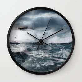 Sea. Double exposure portrait Wall Clock