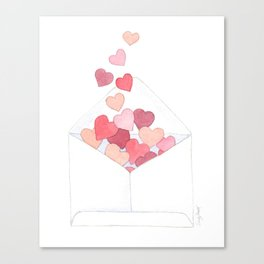 Valentine's Day, Love Notes, Send Love, Watercolor Hearts, Sandy Thomson Canvas Print