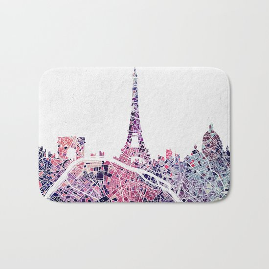 Paris Skyline + Map #1 Bath Mat