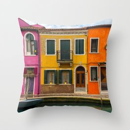 The Streets of Burano Throw Pillow