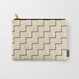 Geometrical black white ivory modern chevron Carry-All Pouch