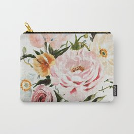 Loose Peonies & Poppies Floral Bouquet Carry-All Pouch