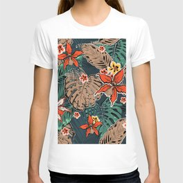 Tropical Pattern With Palm Leaves And Tropical Hibiscus Flowers on Dark Background. T-shirt