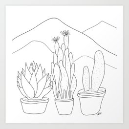 Black and White Cactus and Mountain Minimal Illustration Art Print