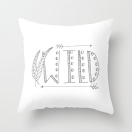 Wild Print With Feathers Throw Pillow