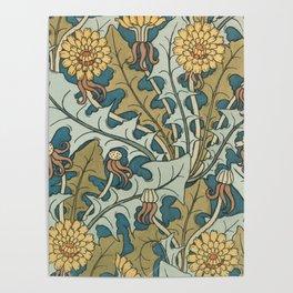 Art Nouveau Dandelion Pattern Poster