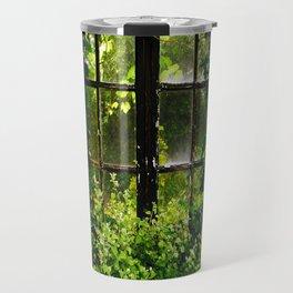 Green idyllic overgrown cottage garden window Travel Mug