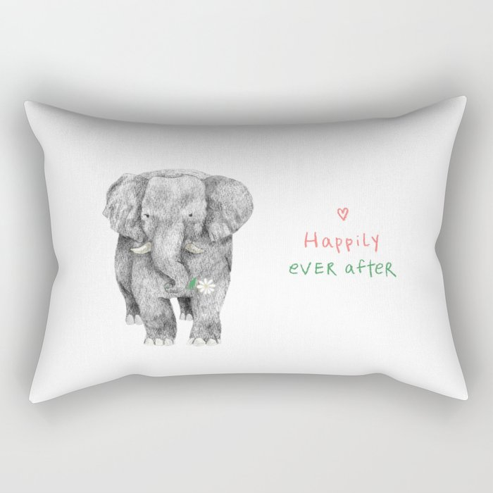 Happily Ever After: Elephant Carrying a Flower Rectangular Pillow