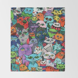 Crazy Cats Color  Throw Blanket