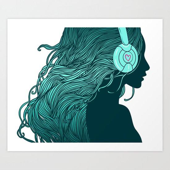 DJ Girl Art Print