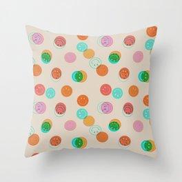 Smiley Face Stamp Print Throw Pillow