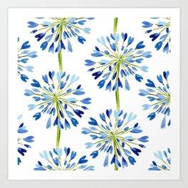 Heart Flower - Blue Art Print