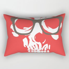 limited edition:amazing skull with glasses red background Rectangular Pillow