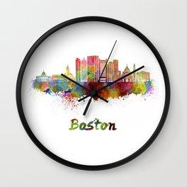 Boston skyline in watercolor Wall Clock