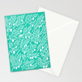 Turquoise Olive Branches Stationery Cards