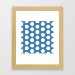 Large Polka Dots on Blue Framed Art Print