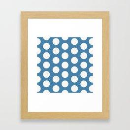 Large Polka Dots on Blue Framed Art Print
