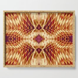 Origami Magic on Purple,Red,White,Tan Serving Tray