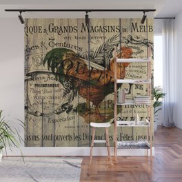 vintage typography barn wood shabby french country poulet chicken rooster Wall Mural