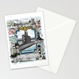 USS Jefferson City - Pearl Harbor Submarine Service (gold dolphins) Stationery Cards