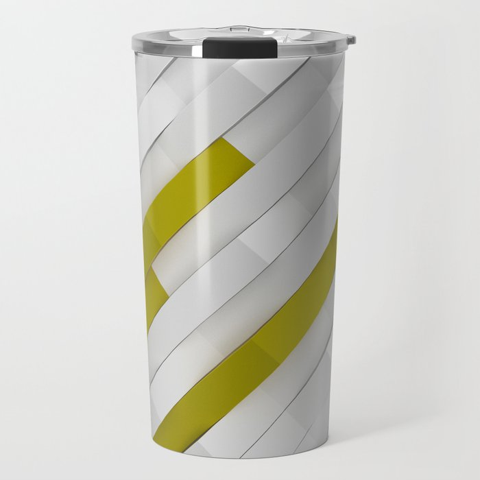 White matte plastic waves with Yellow elements Travel Mug