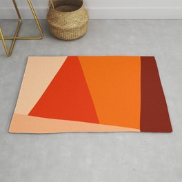 Geometric Abstraction in Red and Orange Rug