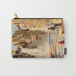 Mid Century Modern Vintage Travel Poster England Landscape Rocky Waterfall Carry-All Pouch