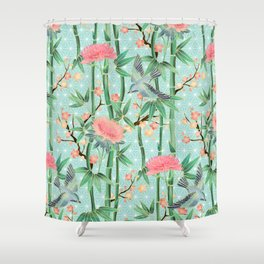 Bamboo, Birds and Blossom - soft blue green Shower Curtain