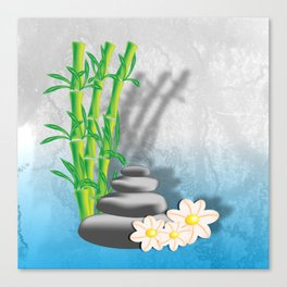 Meditation decorations of bamboo, stones and flowers Canvas Print