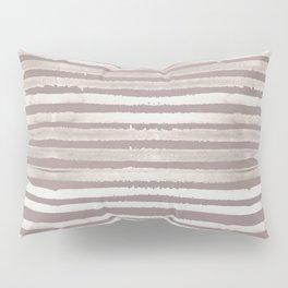 Simply Shibori Stripes Lunar Gray and Red Earth Pillow Sham