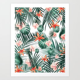 Tropical Flowers & Leaves Paradise #2 #tropical #decor #art #society6 Art Print