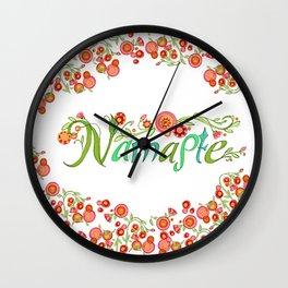 Namaste_Yoga Girls_ Flower Vines_RobinPickens Wall Clock
