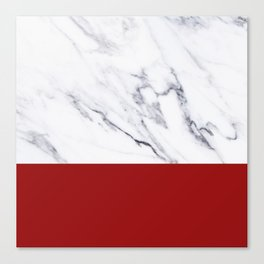 White Marble Red Hot Striped Canvas Print