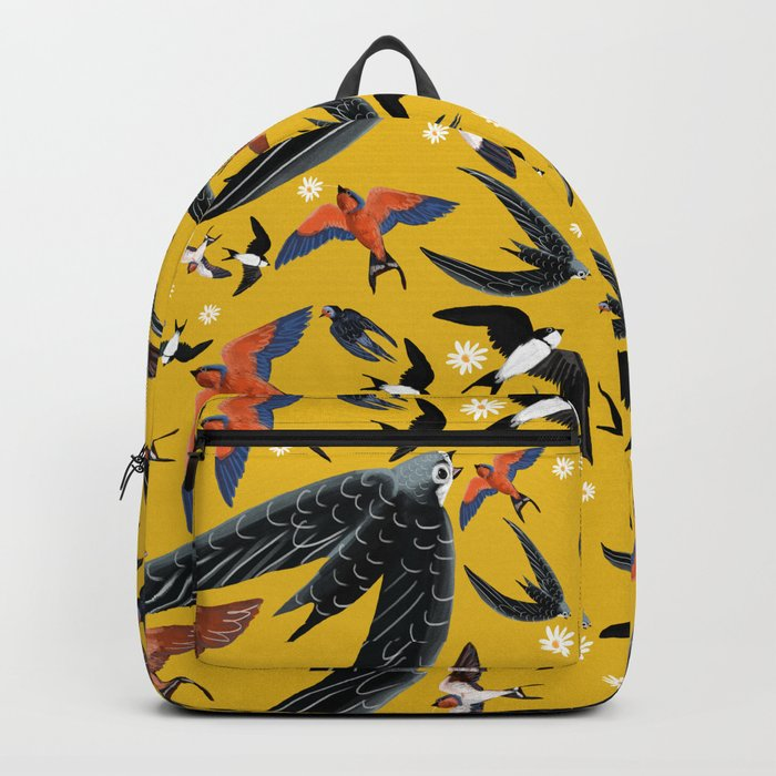 Swallows Martins and Swift pattern Yellow Backpack