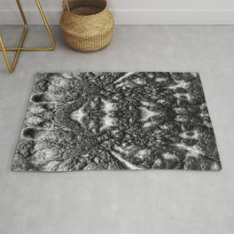 Tribal Face - Black and White Abstract Rug