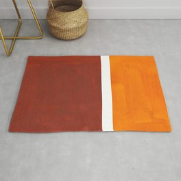 Burnt Sienna Yellow Ochre Rothko Minimalist Mid Century Abstract Color Field Squares Rug